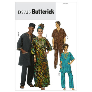 Butterick B5725 Teens' Tunic Caftan Pants Hat & Head Wrap
