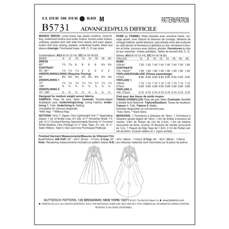 Butterick Pattern B5731 Misses' Dress