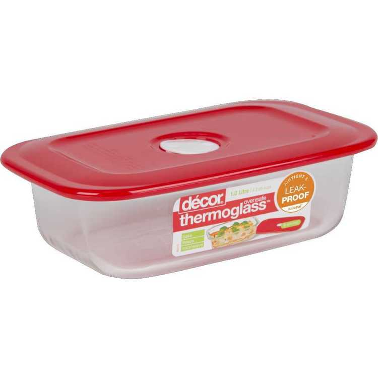 Decor Thermoglass Oblong Baking Dish 1 L Red