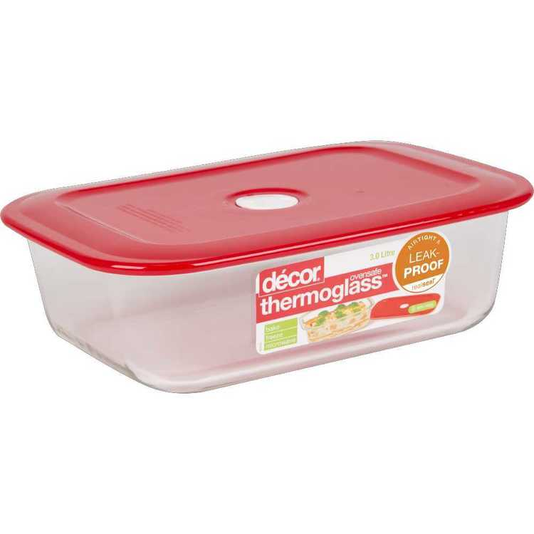 Decor Thermoglass Oblong Baking Dish 3 L Red