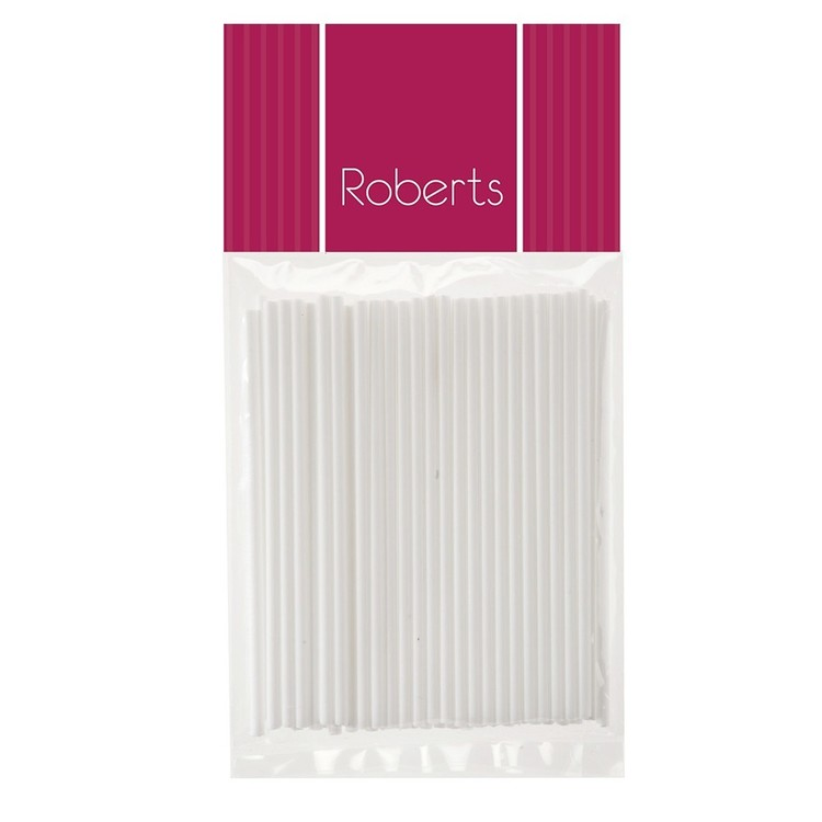 Roberts Edible Craft Short Lolly Pop Sticks White 100 mm