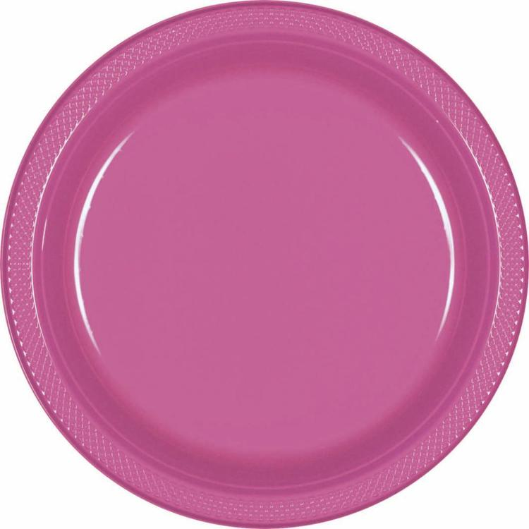 Amscan Bright Pink Plastic Round Plates 20 Pack