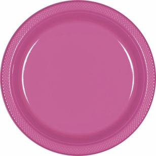 Amscan Bright Pink Plastic Round Plates 20 Pack - Everyday Bargain