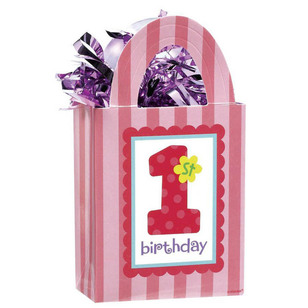 Amscan 1st Birthday Girl Mini Tote Balloon Weight