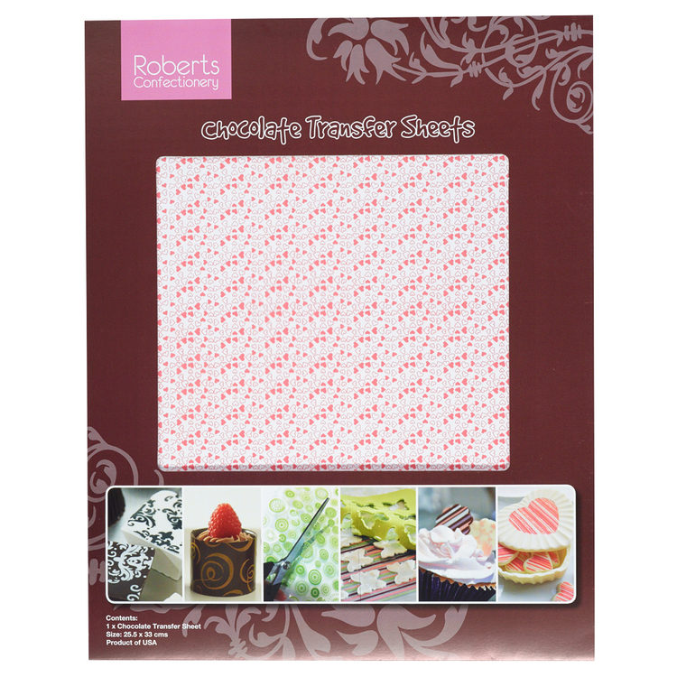 Roberts Confectionery Tiny Hearts Chocolate Transfers Pink