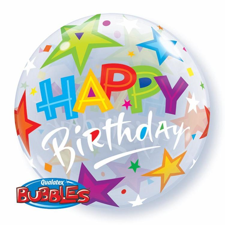 Qualatex Bubbles Birthday Brilliant Stars Balloon Multicoloured