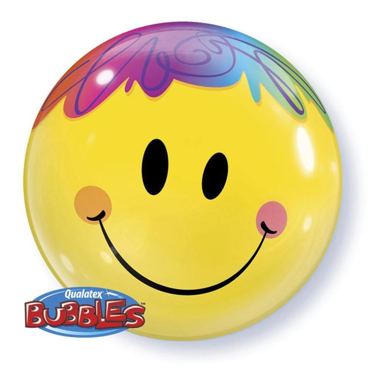Qualatex Bubbles Bright Smile Face Balloon Yellow