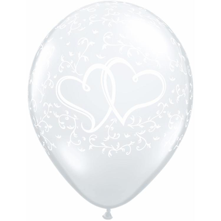 Qualatex Entwined Hearts Latex Balloon Diamond Clear