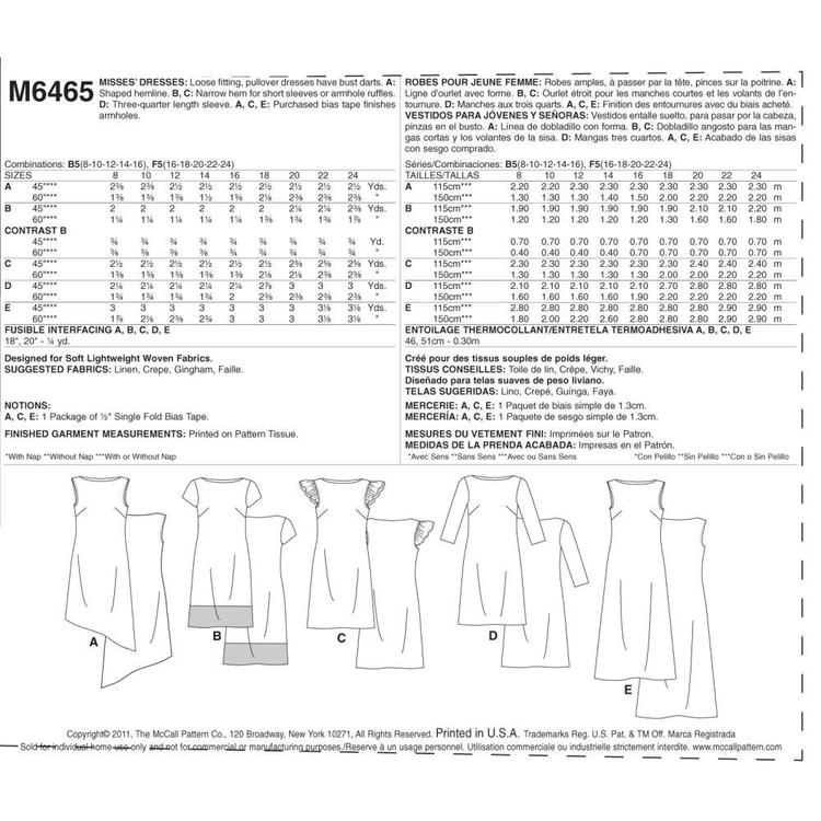 McCall's Pattern M6465 Misses' Dresses