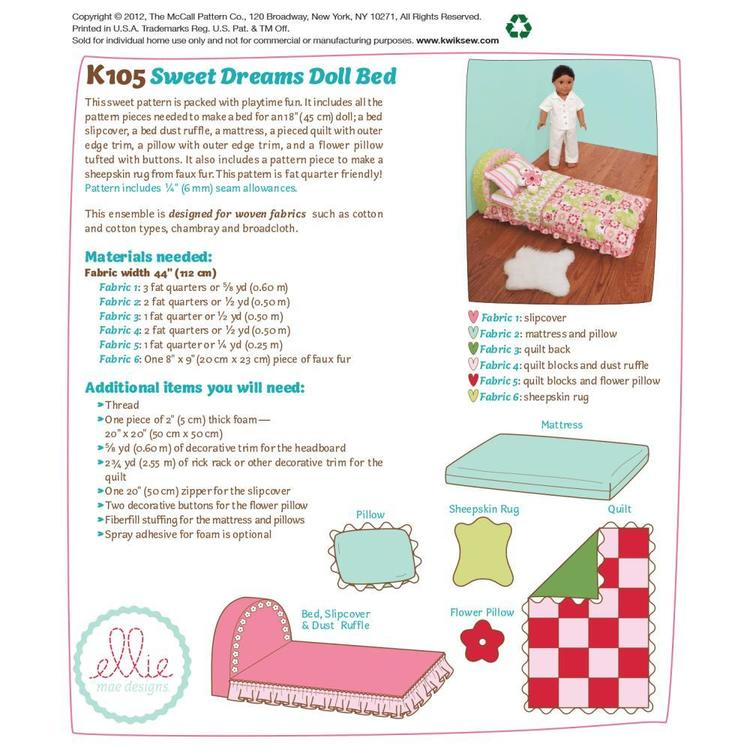 Kwik Sew K0105 Sweet Dreams Doll Bed