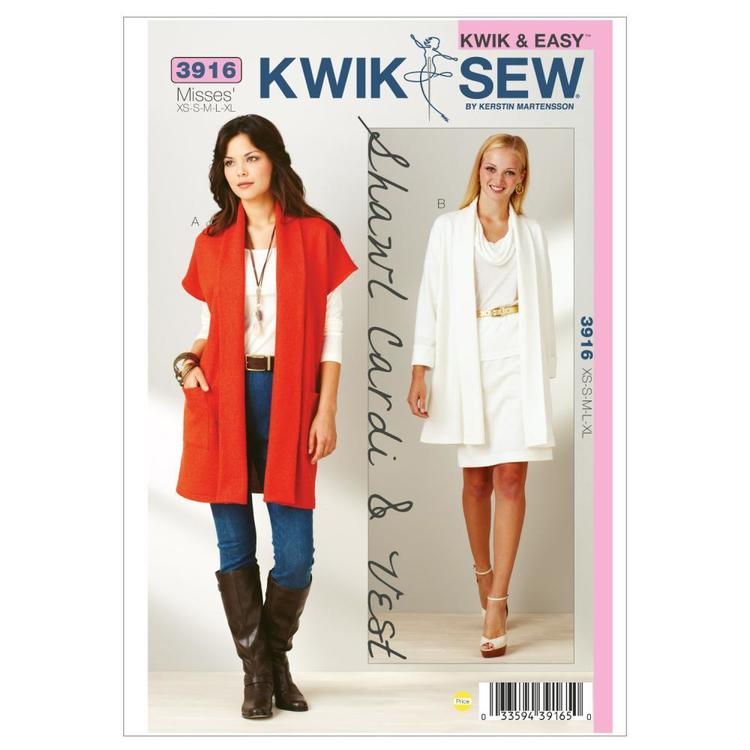 Kwik Sew Pattern K3916 Shawl Cardi & Vest