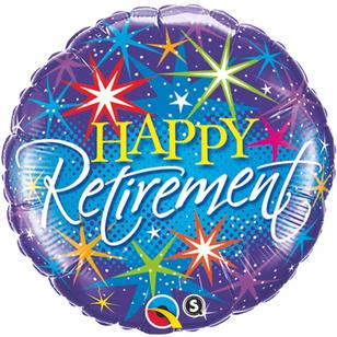 Qualatex Happy Retirement Colourful Bursts Foil Balloon
