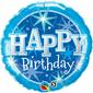 Qualatex Birthday Sparkle Foil Balloon Blue 45 cm