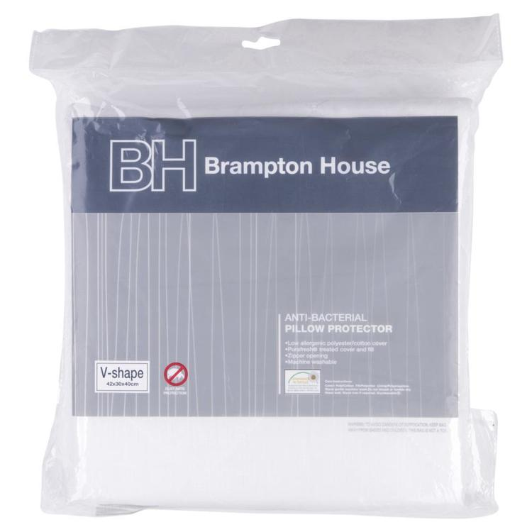 Brampton House V Shaped Anti Bacterial Quilted Pillow Protector White V Shaped