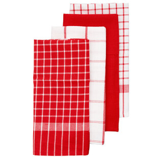 Mode Basic Check Tea Towel 4 Pack