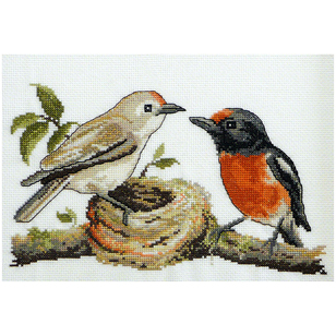 Country Threads Red Capped Robins Cross Stitch Kit