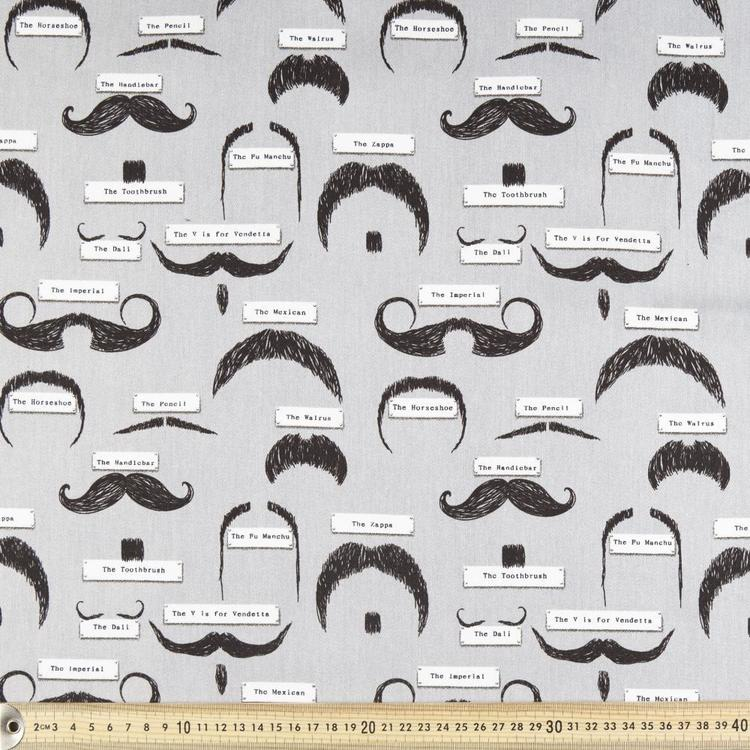 Moustache Printed 112 cm Montreaux Drill Fabric