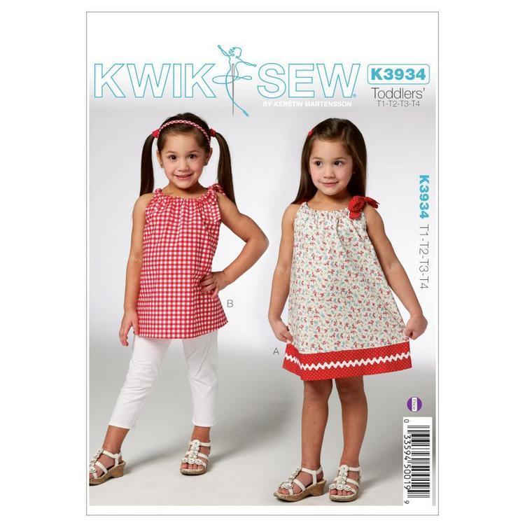 Kwik Sew Pattern K3934 Toddlers' Dress & Tunic