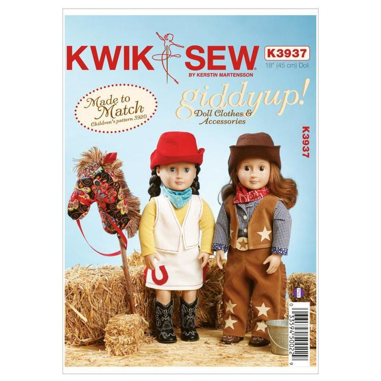 """Kwik Sew Pattern K3937 Cowgirl Outfits and Accessories for 18"""" Doll"""
