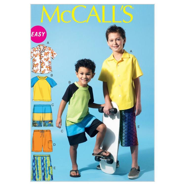 McCall's Pattern M6548 Boys' Shirt Top & Shorts