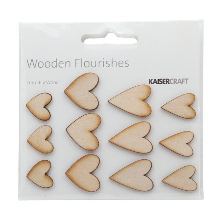 Kaisercraft Wooden Flourishes Hearts Natural