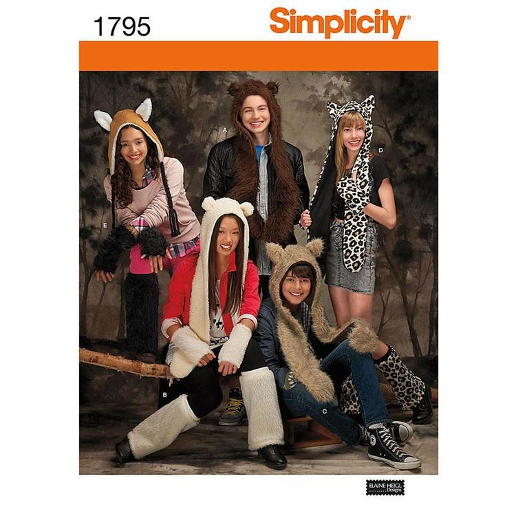 Simplicity 1795 Animal Hats  Small - Large