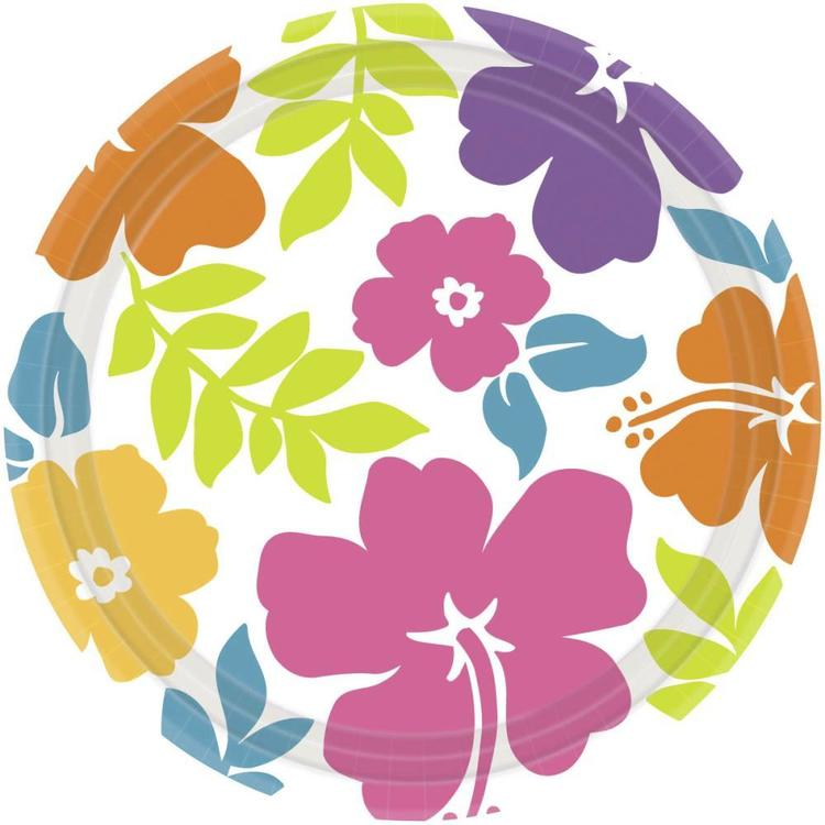 Amscan Summer Hibiscus Paper Plate 8 Pack