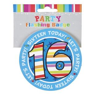 Artwrap Flashing 16th Birthday Badge