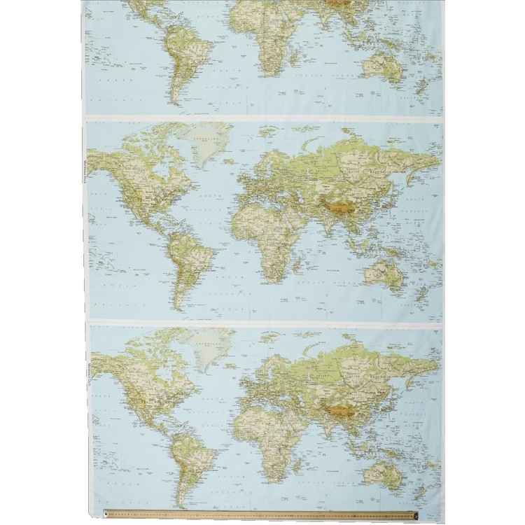 World Map Printed Montreaux Drill 64 x 112 cm Fabric