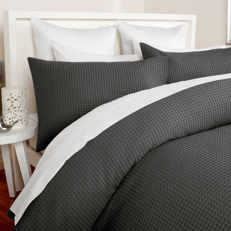 KOO Elite Chunky Waffle Quilt Cover Set Ash