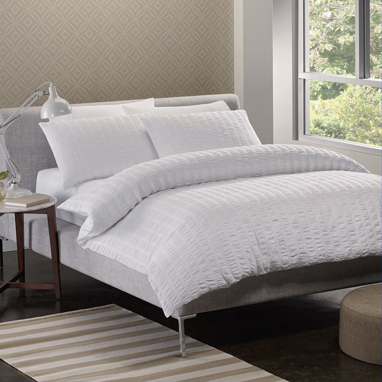KOO Seersucker Quilt Cover Set White
