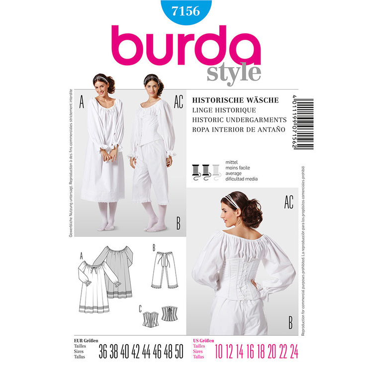 Burda Pattern 7156 Women's Historic Undergarments