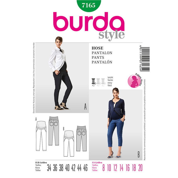 Burda 7165 Women's Maternity Pants  8 - 20