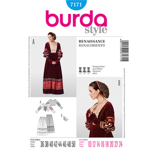 Burda Pattern 7171 Women's Renaissance Costume