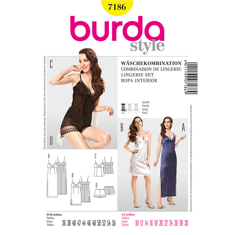 Burda Pattern 7186 Women's Lingerie