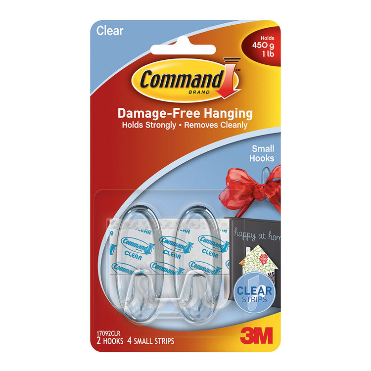 3M Command Medium Clear Hooks Clear