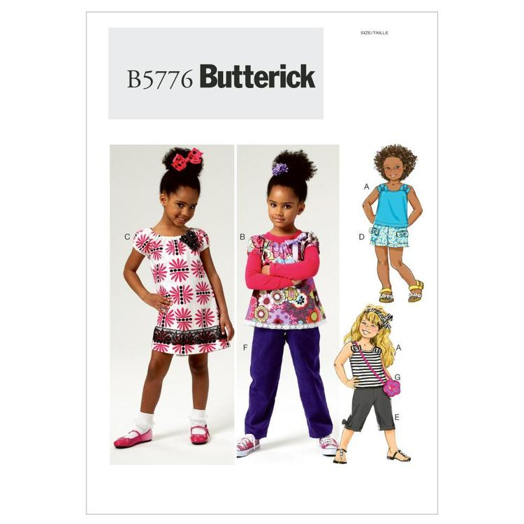 Butterick Pattern B5776 Girls' Top Dress Shorts Pants & Bag