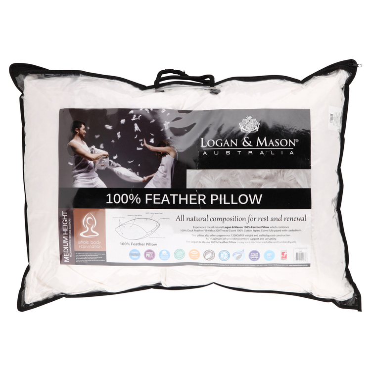 Logan & Mason 100% Feather Pillow
