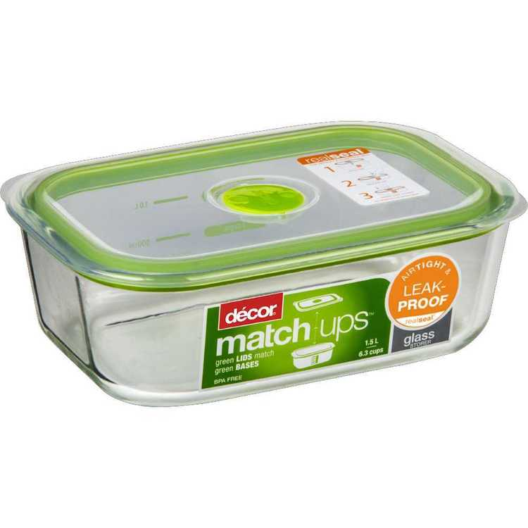 Decor Match-ups Oblong Glass Storer 1.5 L Green
