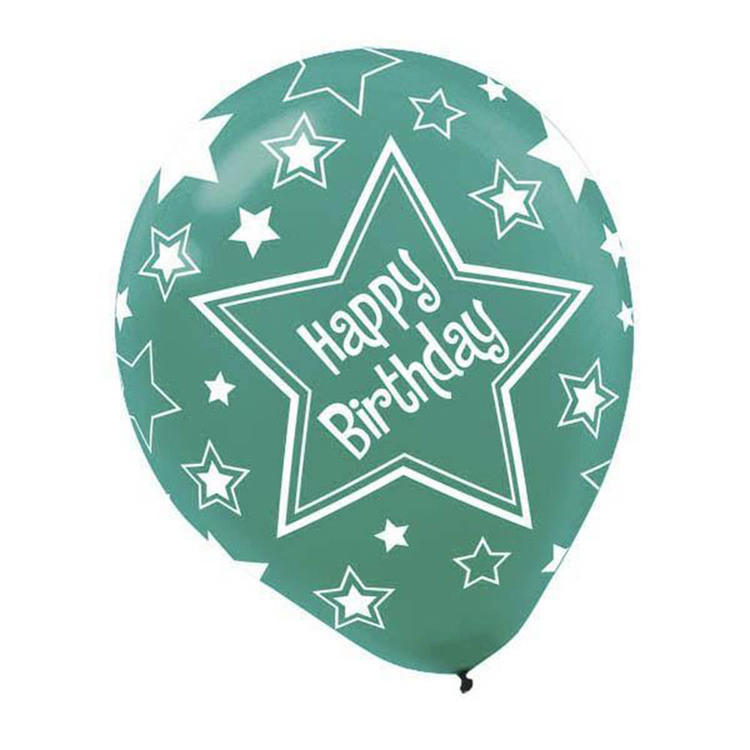 Amscan Pearl Star Birthday Latex Balloons Primary