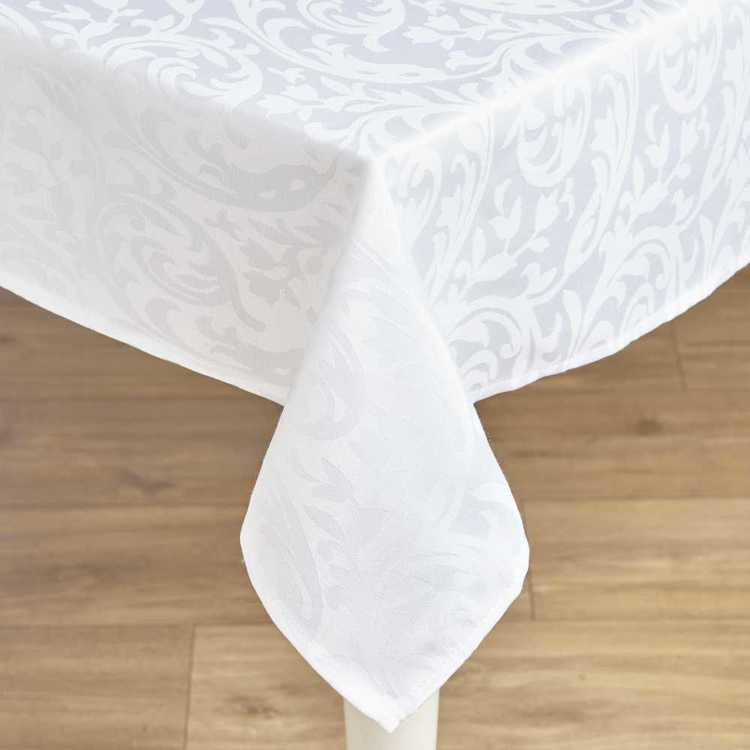 Hyde Park Evie Damask Tablecloth White