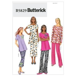 Butterick B5829 Misses' Top Pants Slippers & Bow