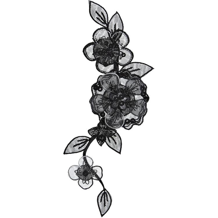 Simplicity Elegant Expressions Black Flower On Vine Large Applique
