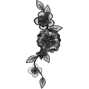 Simplicity Elegant Expressions Black Flower On Vine Large Applique