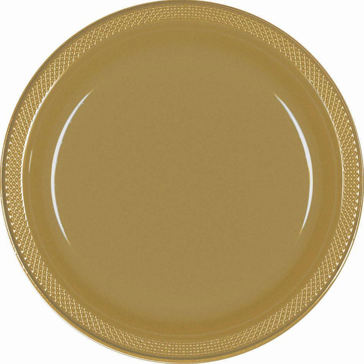 Amscan Gold Plastic Round Plates 20 Pack