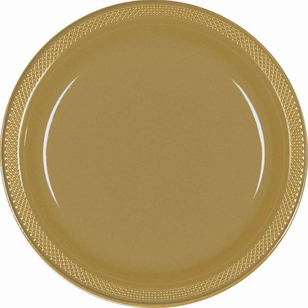 Amscan Gold Plastic Round Plates 20 Pack - Everyday Bargain