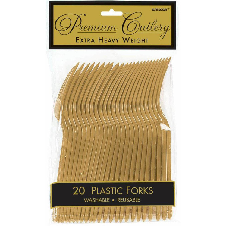 Amscan Gold Heavy Weight Plastic Forks 20 Pack Gold