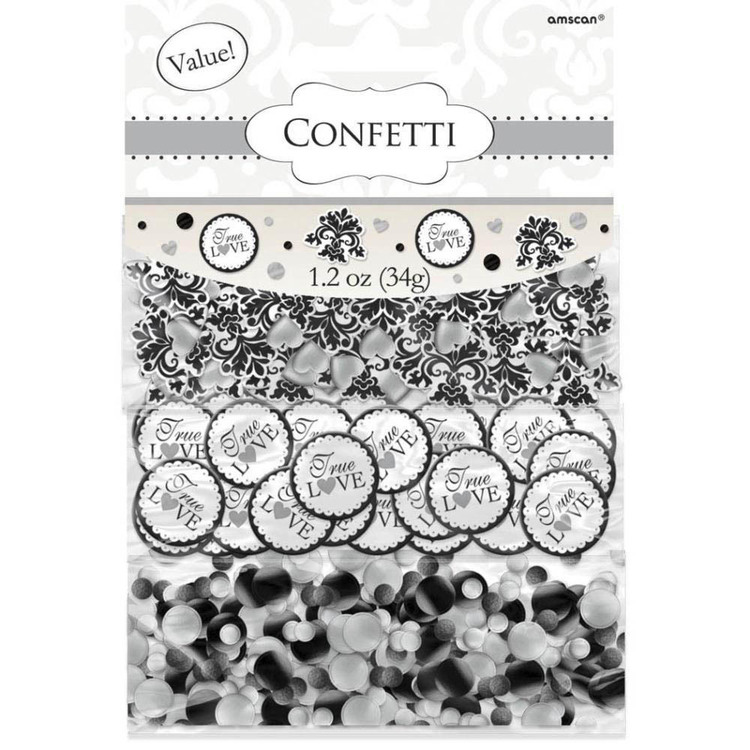 Amscan Black Scroll Confetti Value Pack Black & White