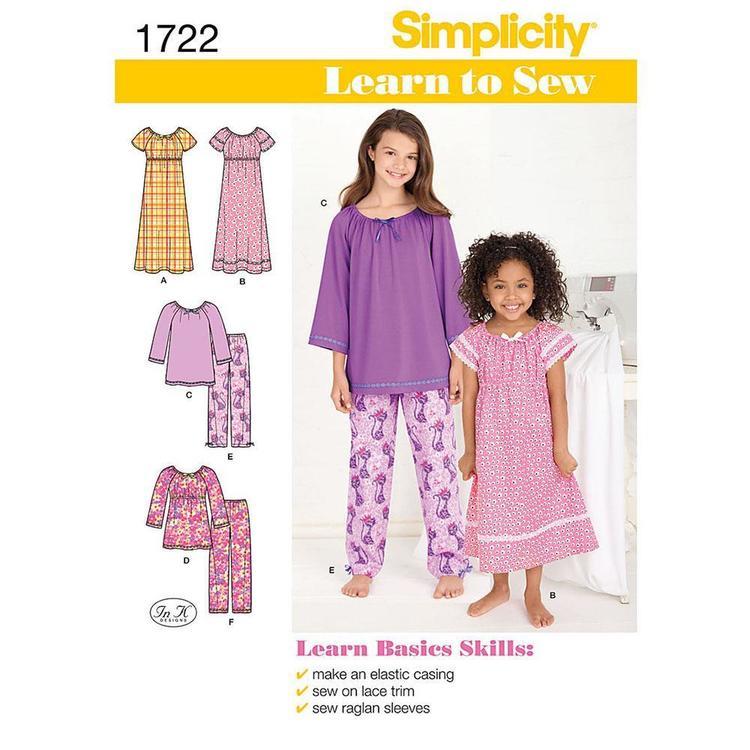 Simplicity Pattern 1722 Girl's Sleepwear