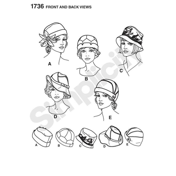 Simplicity Pattern 1736 Hats  Small - Large